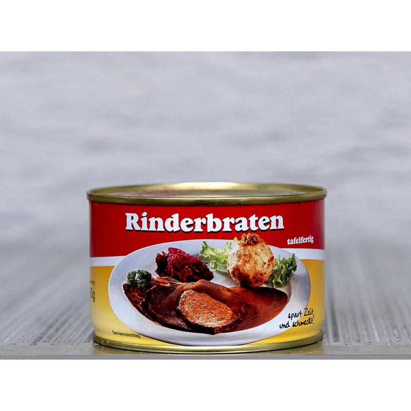 Feiner Rinderbraten in dunkler Sauce. Servieren Sie ihn mit Knödel und Rotkraut, ein Genuss. Tafelfertig in der Dose