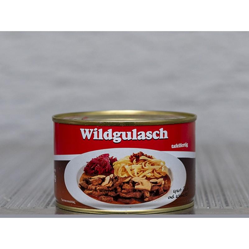 Wildgulasch Spezialität aus Hirsch- und Rehfleisch mit Rotwein verfeinert, Tafelfertig. In der Dose