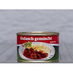 Rinder und Schweine Gulasch gemischt Tafelfertig in der 400g Dose.