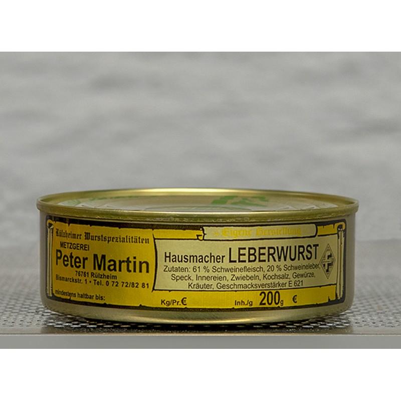 Hausmacher Leberwurst nur echt aus der Pfalz. In der 200g Dose.