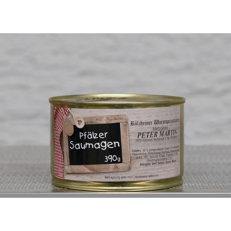 Die Spezialität aus der Pfalz, Hausgemachter Saumagen. In der 390g Dose.
